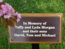 etched/engraved bronze plaque mounted onto a solid oak plinth medium stain then fitted to a ground/tree stake