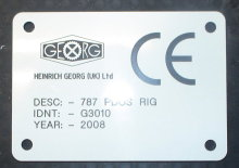ce plates - engraved traffolyte - text and logos
