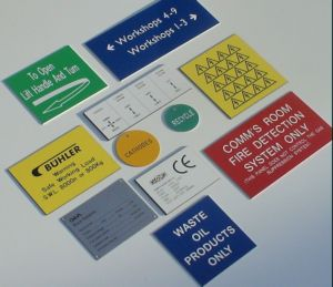 examples of engraved traffolyte labels, tags, warning labels, valve tags and signs