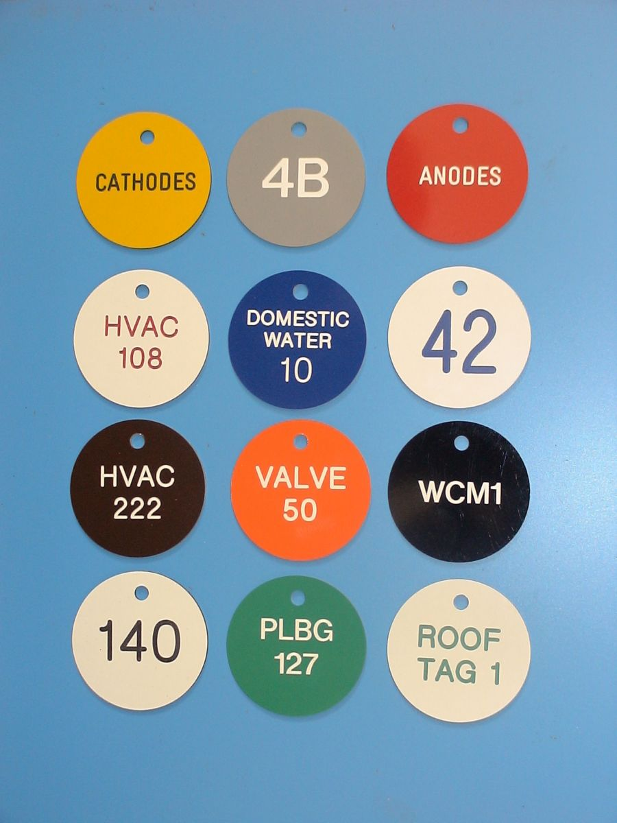 traffolyte valve tag and label colour choice examples