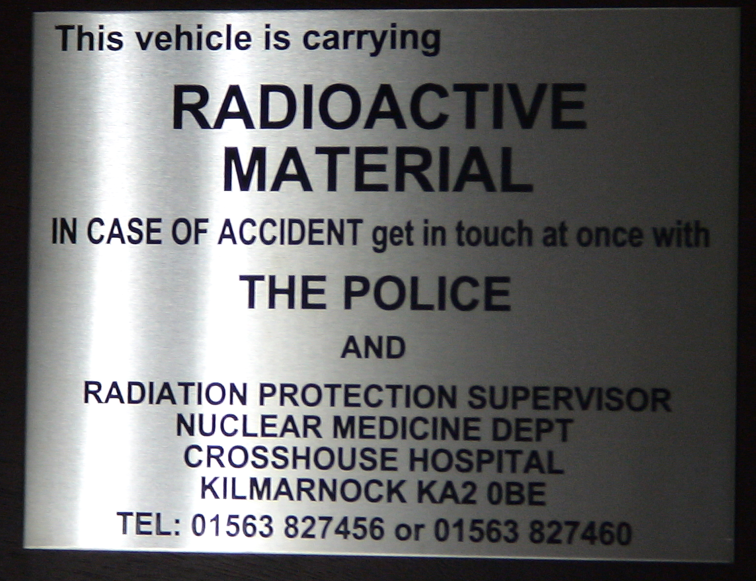 chemically etched satin stainless steel  - for important permanent warning information