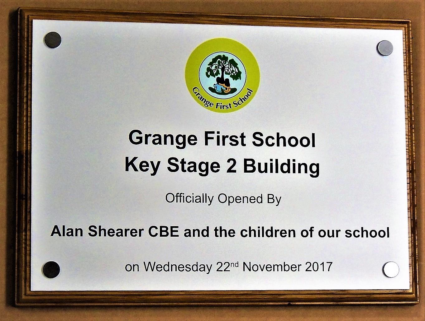 Full colour logo incorporated onto an aluminium plaque