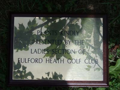engraved brass plaque - donated-presented by