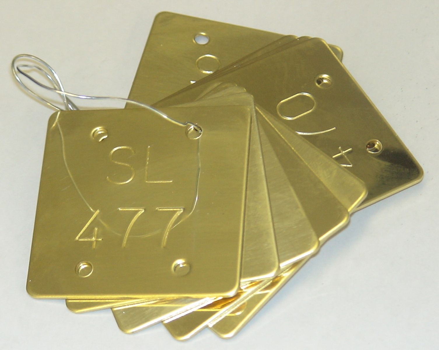 stamped brass valve tag-no infill radiused corners - ideal for valve tags -and asset number labelling