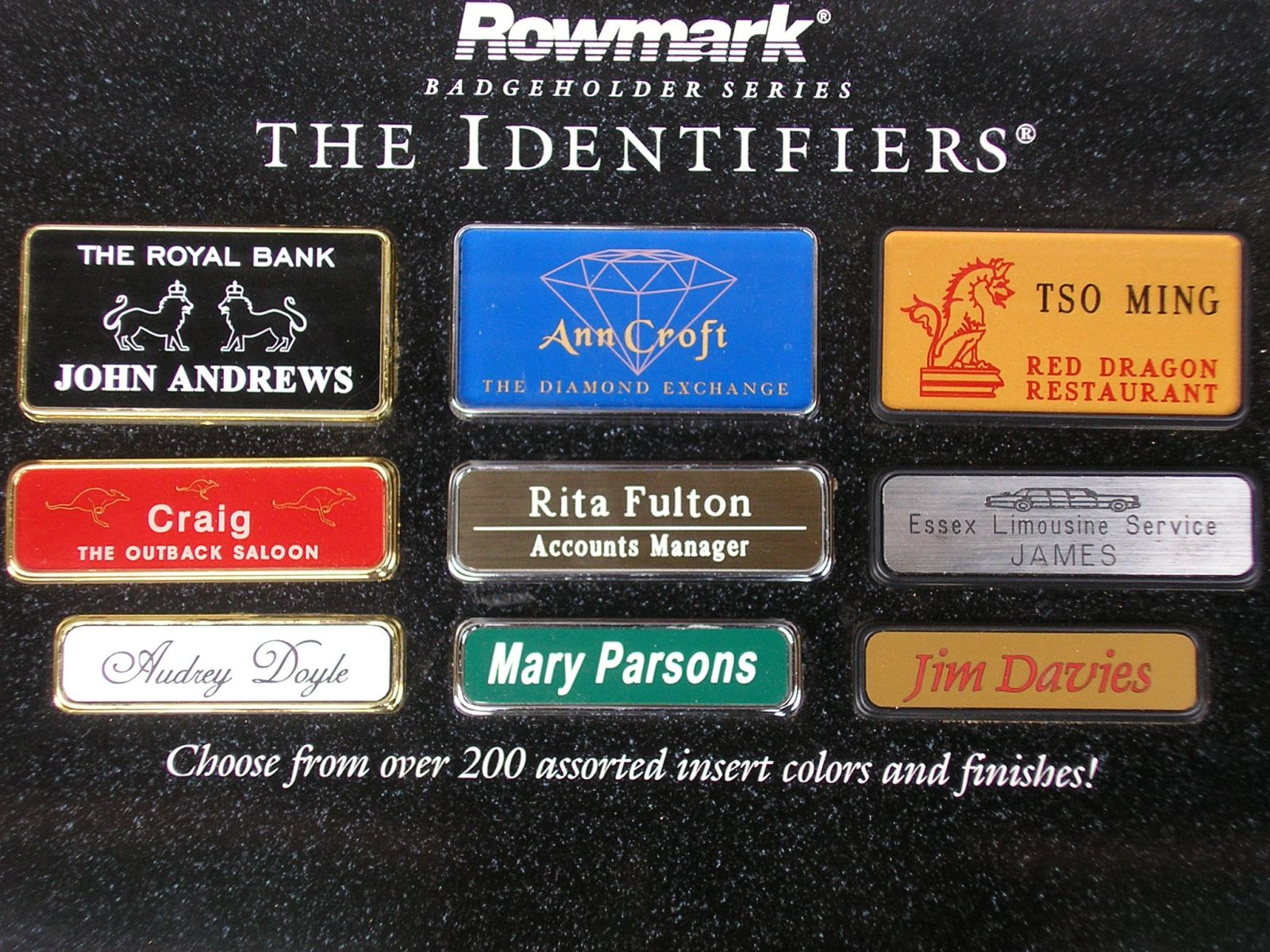 engraved badges choices and examples