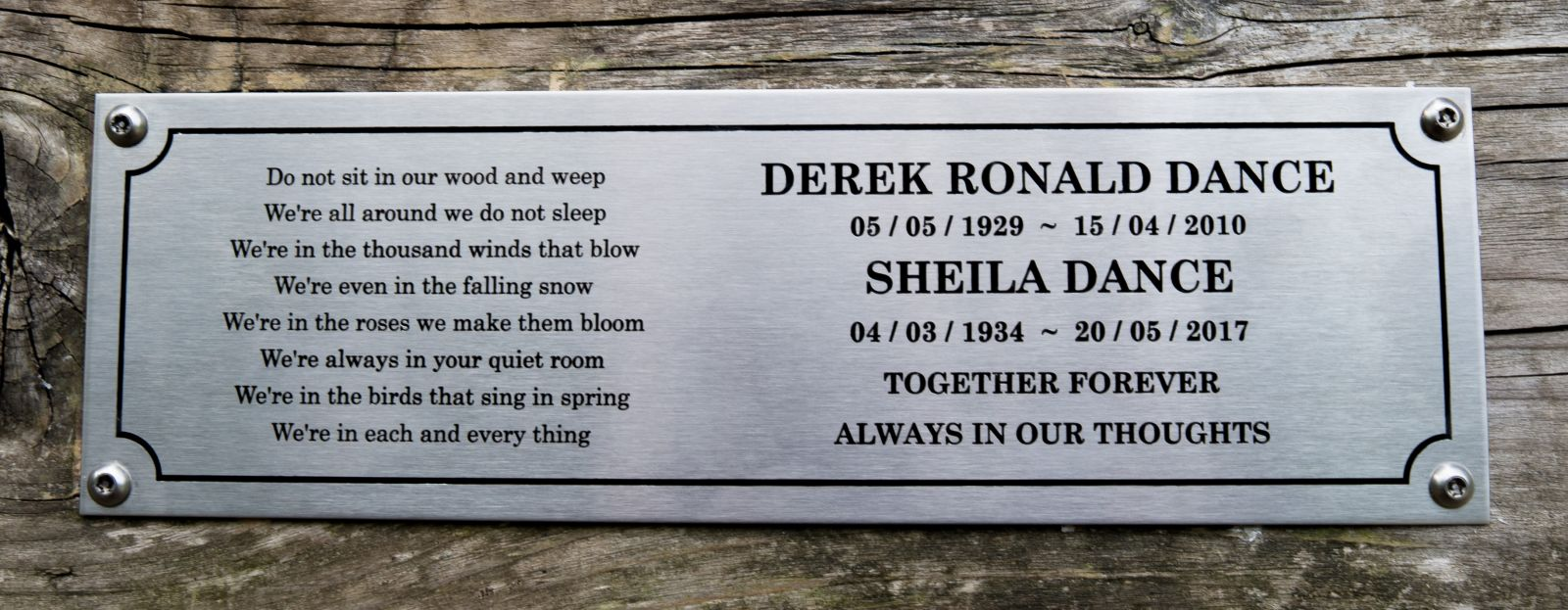Stainless Steel Memorial Bench Plaque