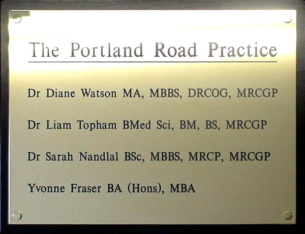 brass plaque for Doctors Surgery