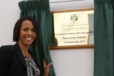 plaque unveiling - curtain hire and beautifully engraved brass plaque supplied to Nottingham University Samworth Academy September 2010 new build unveiling by Dame Kelly Holmes