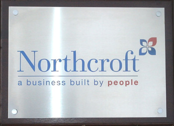 stainless steel sign engraved and infilled 2 colours