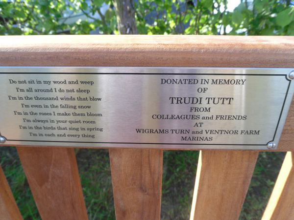 etched stainless steel bench plaque