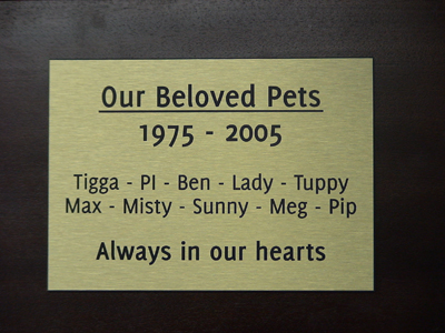 pet memorial plaque engraved gold metallic laminate